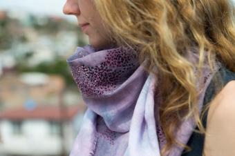 Hand dyed Shibori + embroidery scarf. Photographer Laia Gutierrez http://www.laiagutierrez.com/